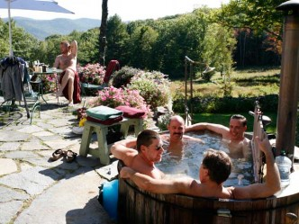 Wood-fired Hot Tub Gay Lodging, Retreats and Men's Workshops Frog Meadow New England's Best All Male Gay Resort in Southern Vermont